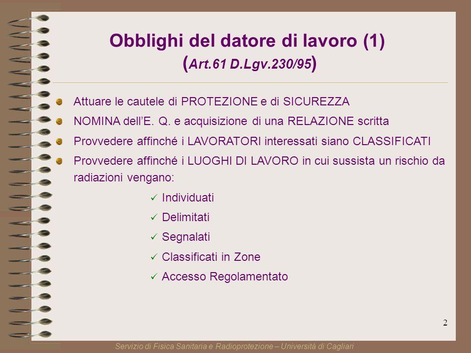 2 Obblighi del datore di lavoro (1) ( Art.61 D.Lgv.230/95 ) Attuare le cautele di PROTEZIONE e di SICUREZZA NOMINA dellE.
