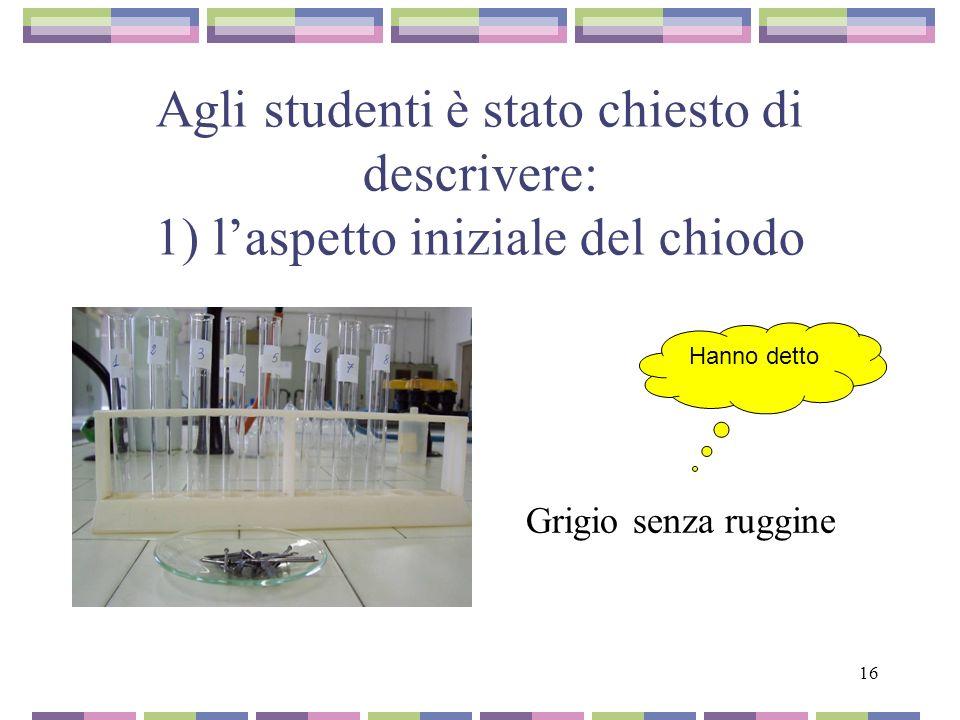 16 Agli studenti è stato chiesto di descrivere: 1) laspetto iniziale del chiodo Grigio senza ruggine Hanno detto