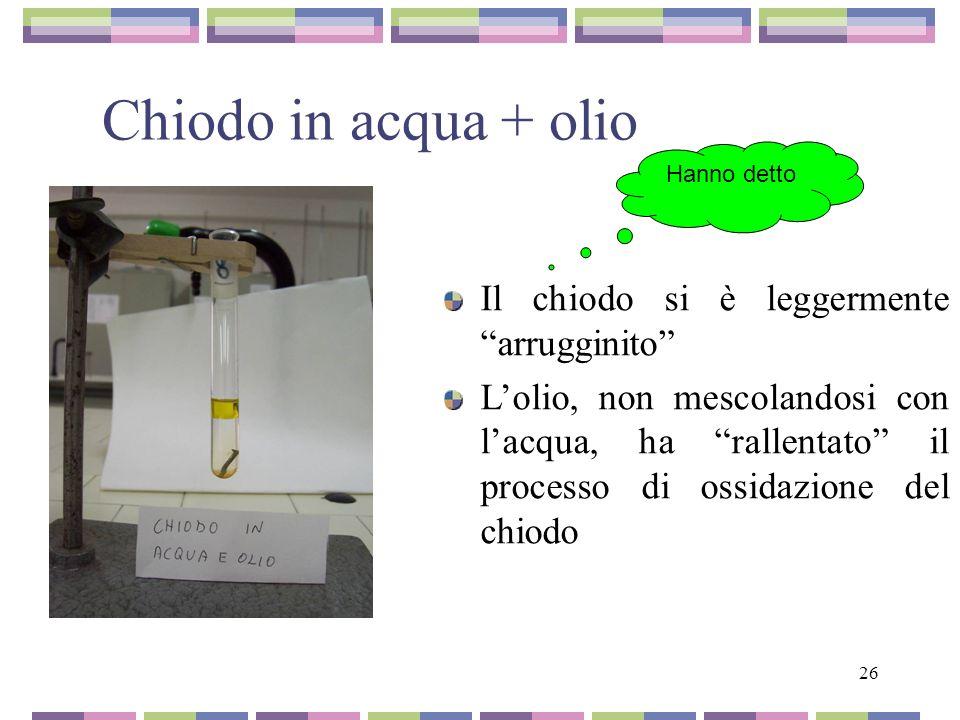 26 Chiodo in acqua + olio Il chiodo si è leggermente arrugginito Lolio, non mescolandosi con lacqua, ha rallentato il processo di ossidazione del chio