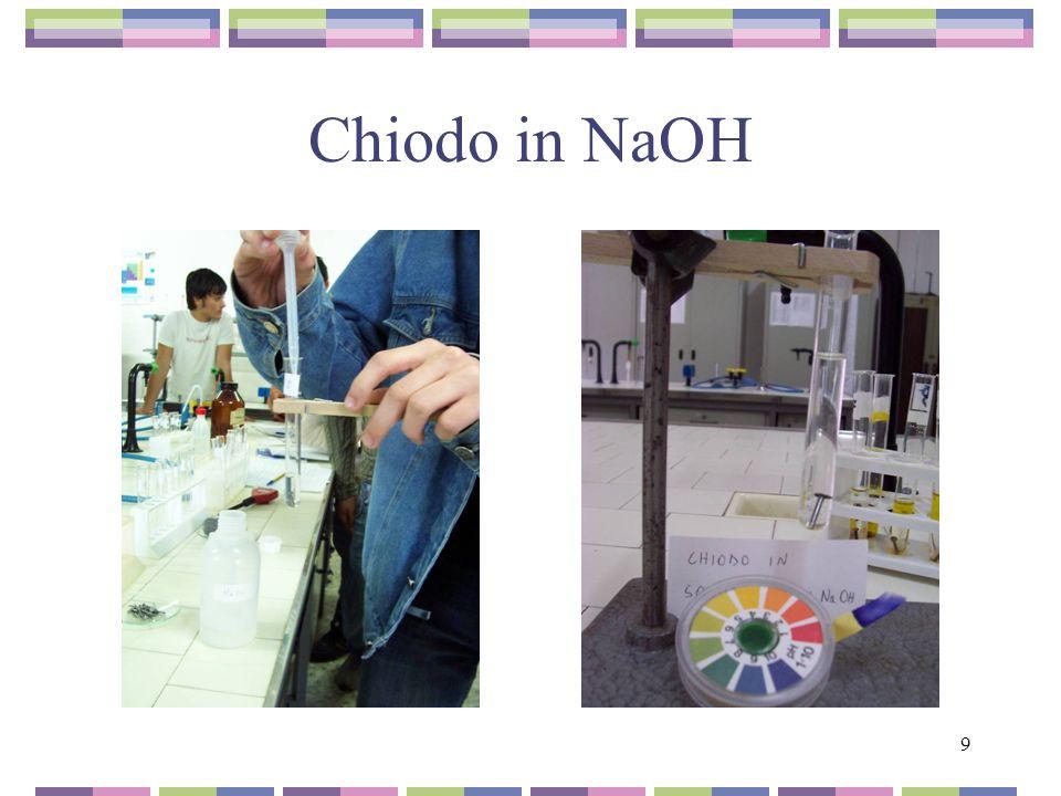20 Chiodo in NaOH Il chiodo è rimasto intatto, senza formazione di ruggine Il chiodo è rimasto integro Il pH, fortemente basico della soluzione, ha impedito la formazione della ruggine.