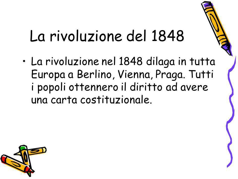 La rivoluzione del 1848 La rivoluzione nel 1848 dilaga in tutta Europa a Berlino, Vienna, Praga. Tutti i popoli ottennero il diritto ad avere una cart