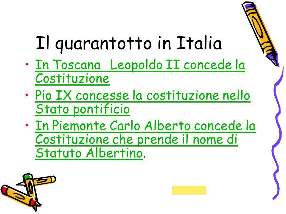 Il quarantotto in Italia In Toscana Leopoldo II concede la CostituzioneIn Toscana Leopoldo II concede la Costituzione Pio IX concesse la costituzione
