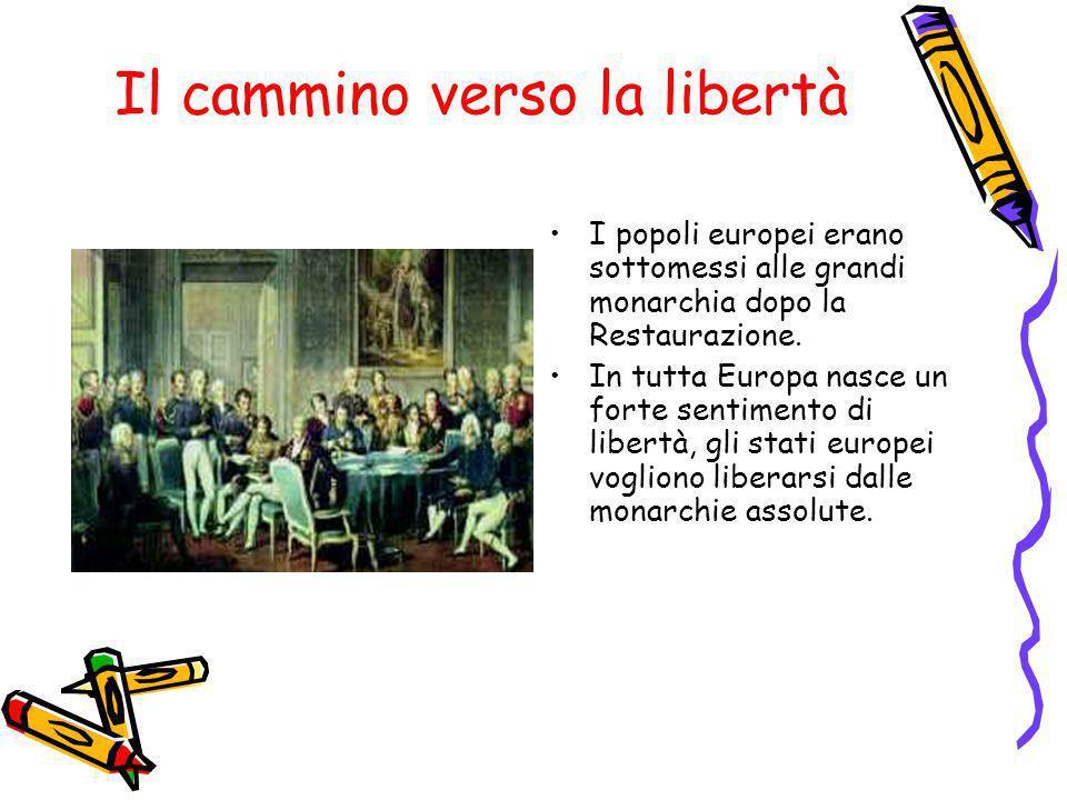 Il cammino verso la libertà I popoli europei erano sottomessi alle grandi monarchia dopo la Restaurazione. In tutta Europa nasce un forte sentimento d