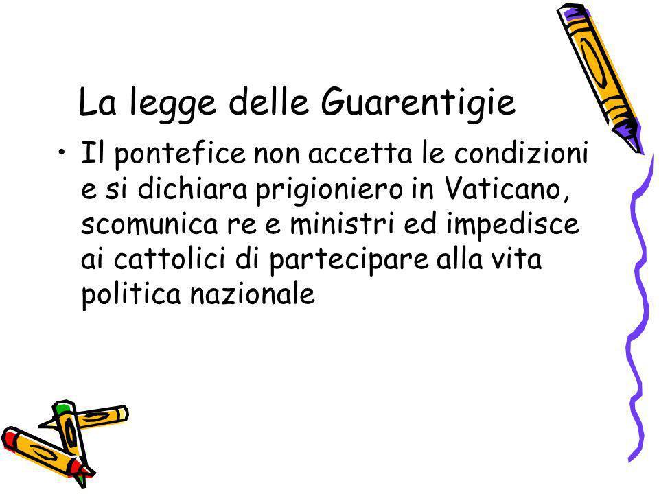 La legge delle Guarentigie Il pontefice non accetta le condizioni e si dichiara prigioniero in Vaticano, scomunica re e ministri ed impedisce ai catto