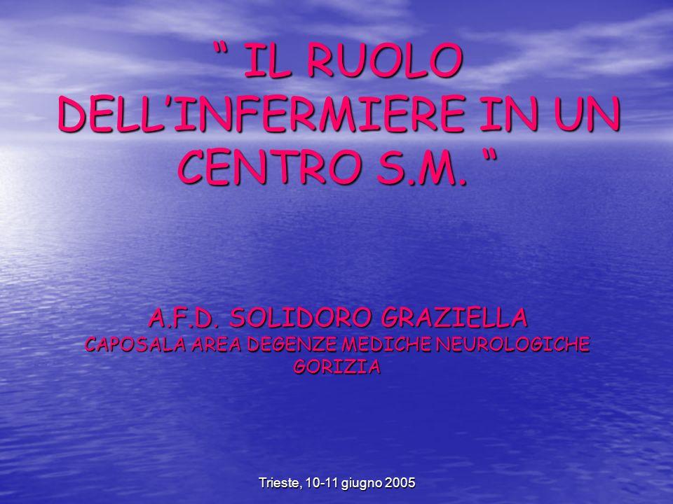 Trieste, 10-11 giugno 2005 IL RUOLO DELLINFERMIERE IN UN CENTRO S.M.