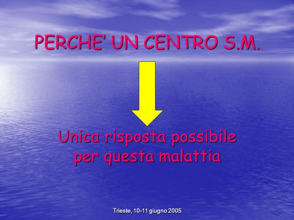 Trieste, 10-11 giugno 2005 PERCHE UN CENTRO S.M. Unica risposta possibile per questa malattia