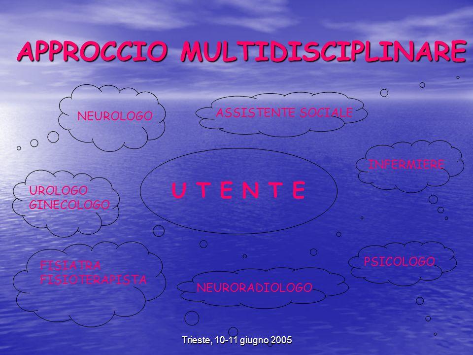 Trieste, 10-11 giugno 2005 APPROCCIO MULTIDISCIPLINARE U T E N T E NEUROLOGO INFERMIERE ASSISTENTE SOCIALE FISIATRA FISIOTERAPISTA NEURORADIOLOGO UROLOGO GINECOLOGO PSICOLOGO