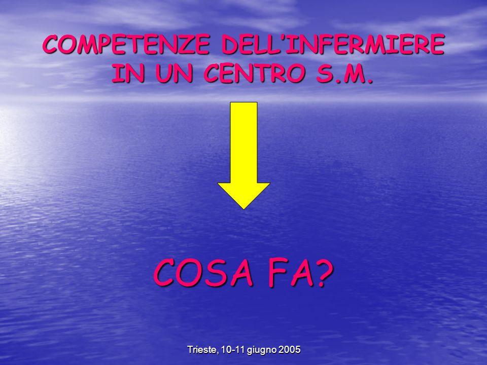 Trieste, 10-11 giugno 2005 COMPETENZE DELLINFERMIERE IN UN CENTRO S.M. COSA FA?