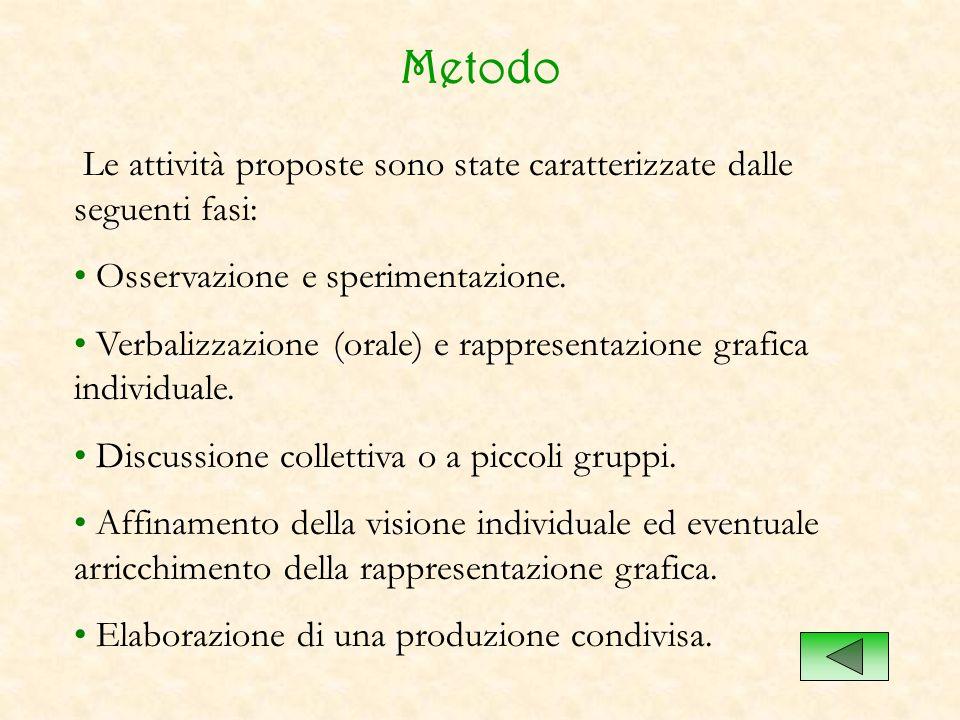 Metodo Le attività proposte sono state caratterizzate dalle seguenti fasi: Osservazione e sperimentazione. Verbalizzazione (orale) e rappresentazione