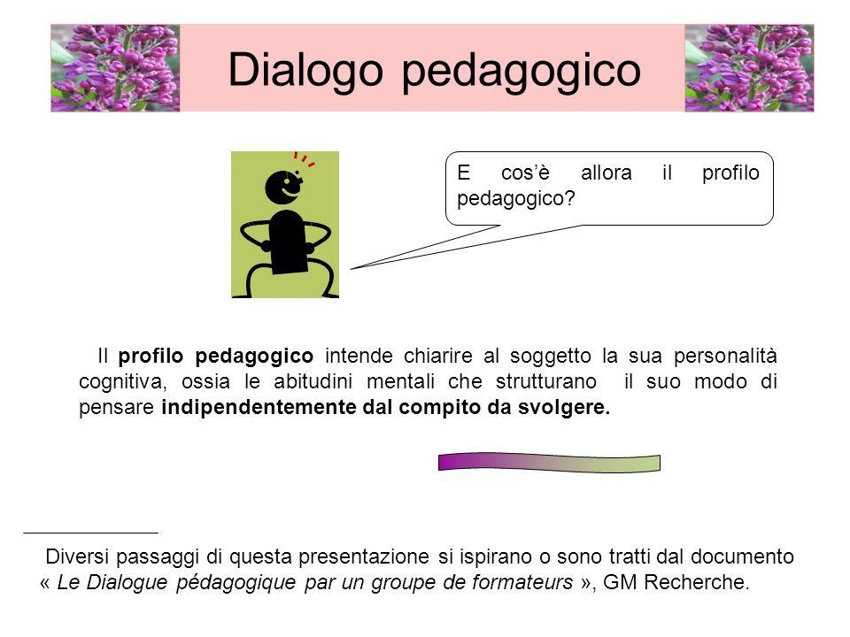 Il profilo pedagogico intende chiarire al soggetto la sua personalità cognitiva, ossia le abitudini mentali che strutturano il suo modo di pensare ind
