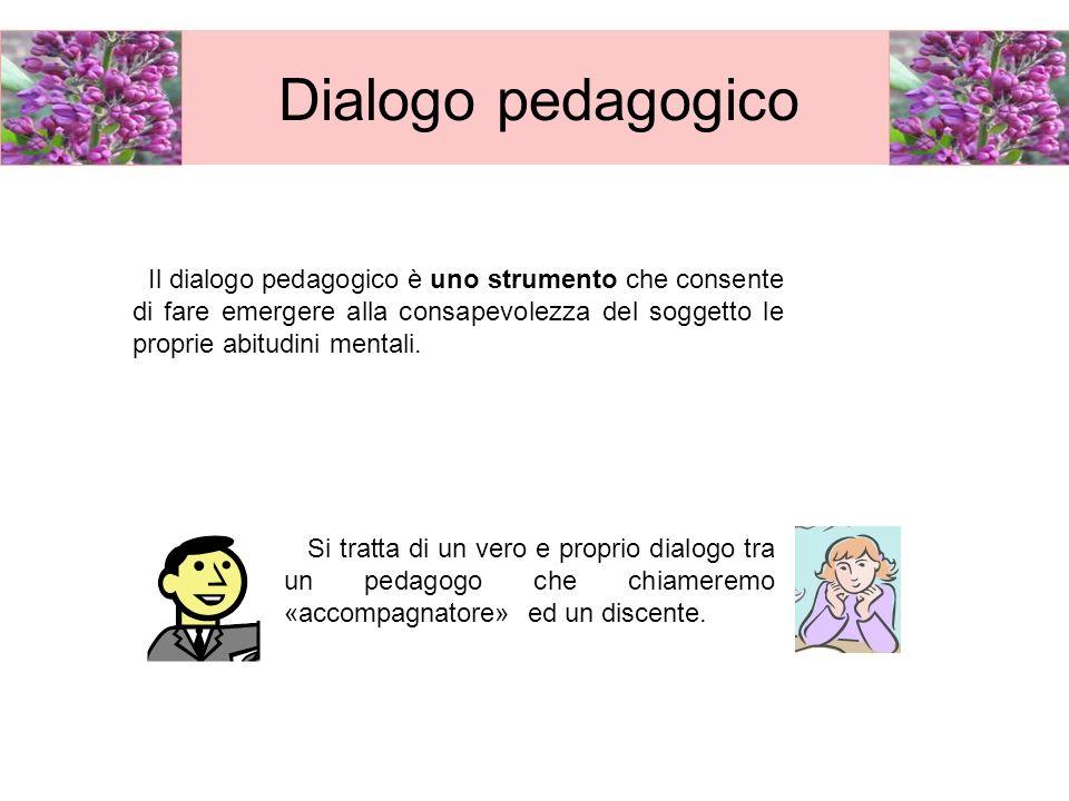 Dialogo pedagogico Il dialogo pedagogico è uno strumento che consente di fare emergere alla consapevolezza del soggetto le proprie abitudini mentali.