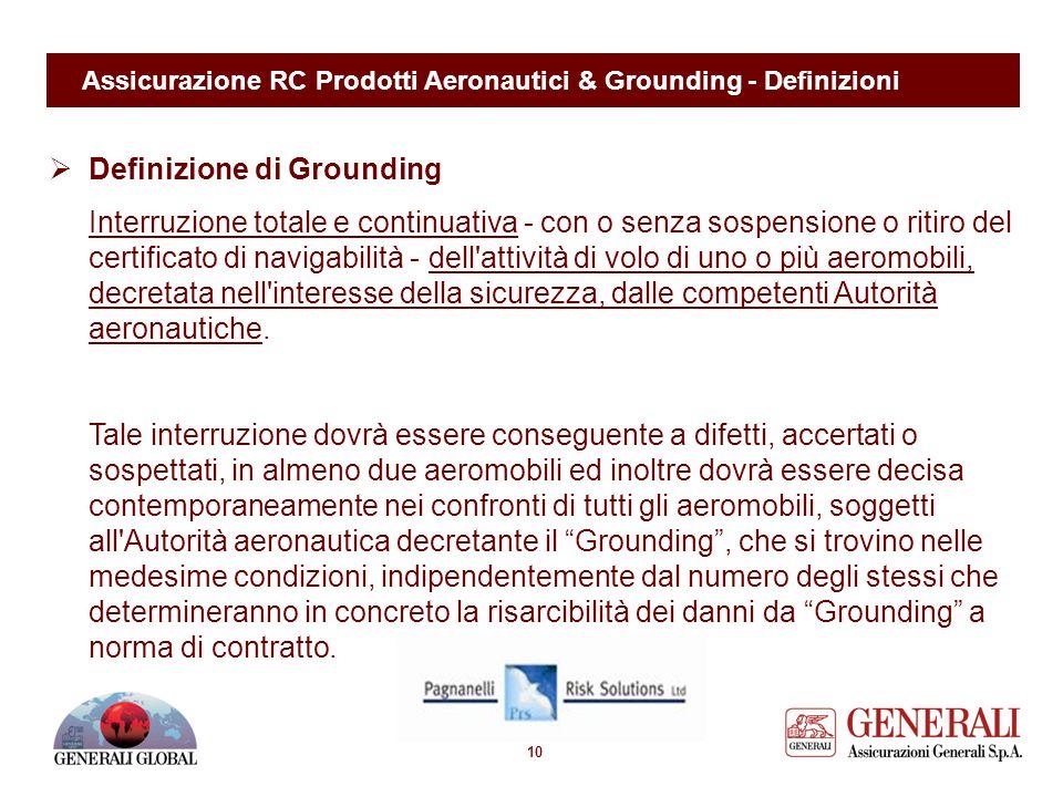 9 Assicurazione RC Prodotti Aeronautici & Grounding - Definizioni Definizione di Rischio da Prodotto Impiego/utilizzo di un Prodotto Aeronautico da pa