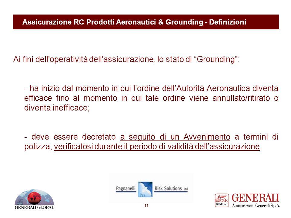 10 Assicurazione RC Prodotti Aeronautici & Grounding - Definizioni Definizione di Grounding Interruzione totale e continuativa - con o senza sospensio