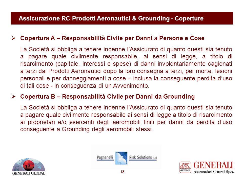 11 Assicurazione RC Prodotti Aeronautici & Grounding - Definizioni Ai fini dell'operatività dell'assicurazione, lo stato di Grounding: - ha inizio dal