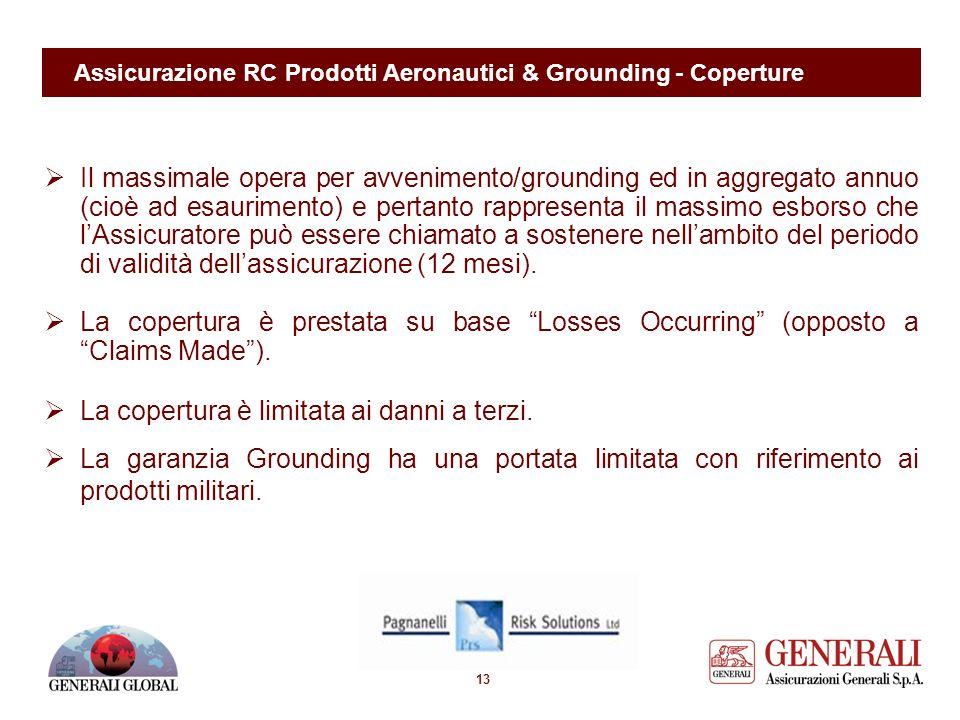 12 Assicurazione RC Prodotti Aeronautici & Grounding - Coperture Copertura A – Responsabilità Civile per Danni a Persone e Cose La Società si obbliga