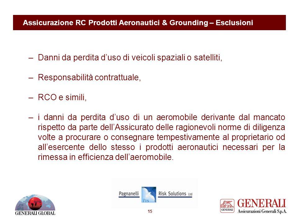 14 Assicurazione RC Prodotti Aeronautici & Grounding – Esclusioni Principali esclusioni: –Danni derivanti da mancata rispondenza a specifiche o non ra