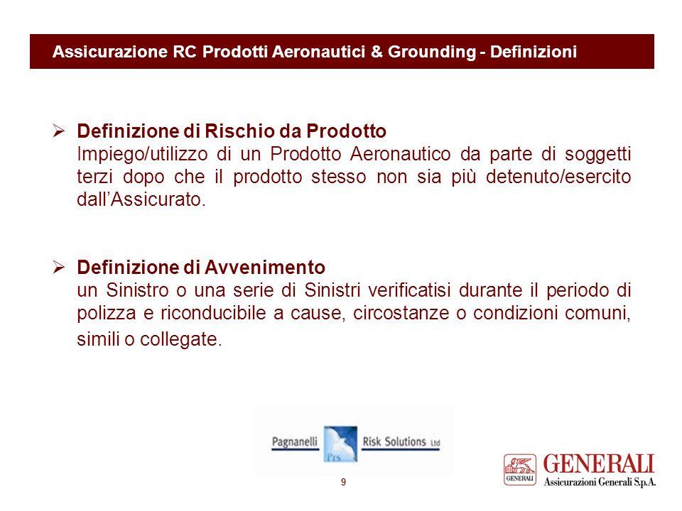 8 Assicurazione RC Prodotti Aeronautici & Grounding - Definizioni Definizione di Prodotto Aeronautico laeromobile finito, i singoli componenti dello s
