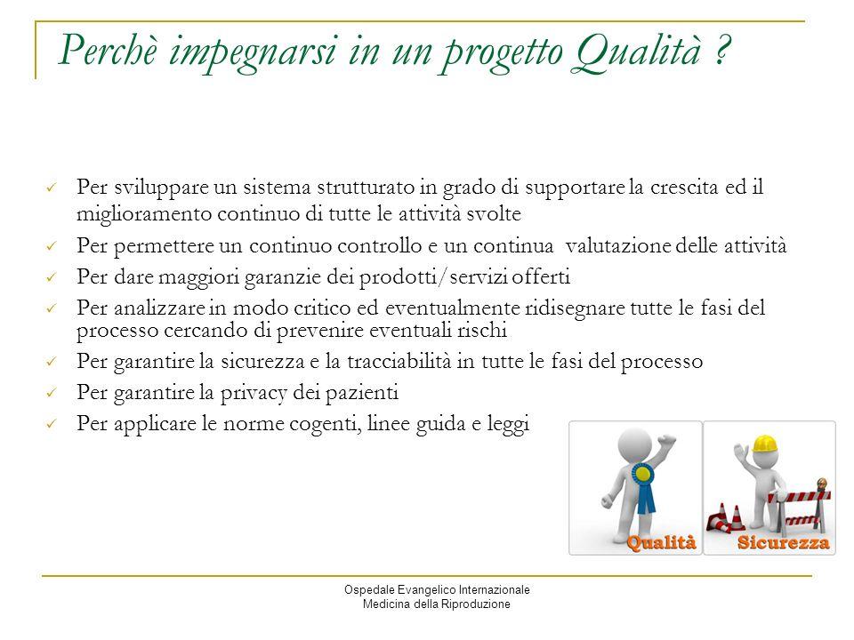Ospedale Evangelico Internazionale Medicina della Riproduzione Perchè impegnarsi in un progetto Qualità .