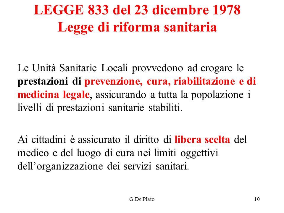 G.De Plato10 LEGGE 833 del 23 dicembre 1978 Legge di riforma sanitaria Le Unità Sanitarie Locali provvedono ad erogare le prestazioni di prevenzione,