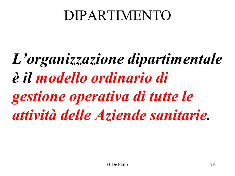 G.De Plato23 DIPARTIMENTO Lorganizzazione dipartimentale è il modello ordinario di gestione operativa di tutte le attività delle Aziende sanitarie.