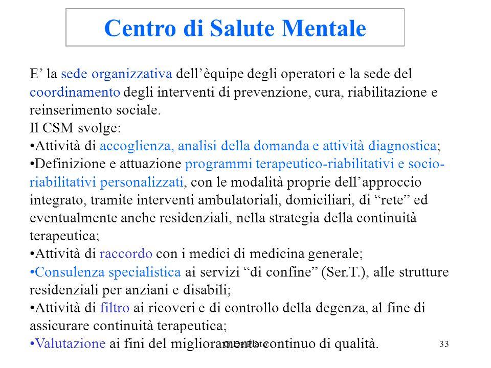 G.De Plato33 Centro di Salute Mentale E la sede organizzativa dellèquipe degli operatori e la sede del coordinamento degli interventi di prevenzione,