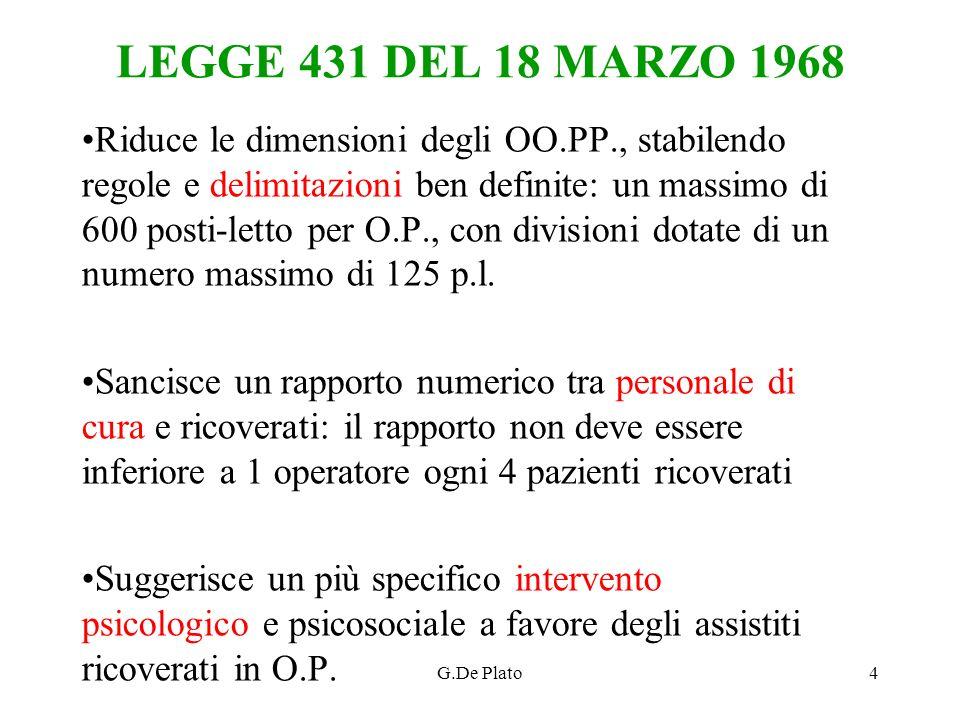 G.De Plato4 LEGGE 431 DEL 18 MARZO 1968 Riduce le dimensioni degli OO.PP., stabilendo regole e delimitazioni ben definite: un massimo di 600 posti-let