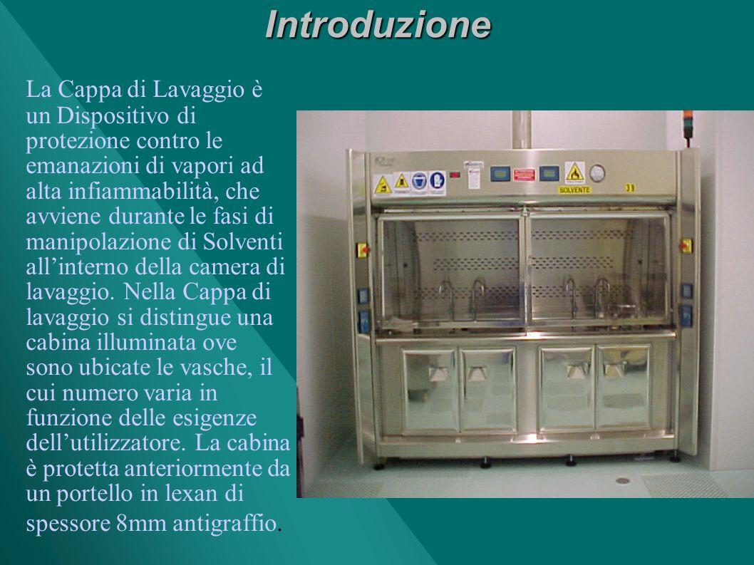 Introduzione La Cappa di Lavaggio è un Dispositivo di protezione contro le emanazioni di vapori ad alta infiammabilità, che avviene durante le fasi di manipolazione di Solventi allinterno della camera di lavaggio.
