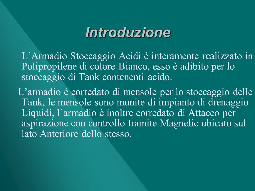 Introduzione LArmadio Stoccaggio Acidi è interamente realizzato in Polipropilene di colore Bianco, esso è adibito per lo stoccaggio di Tank contenenti acido.