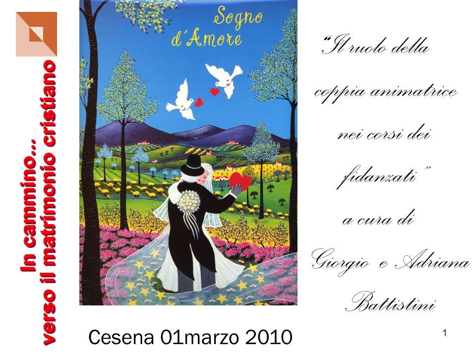 1 Il ruolo della coppia animatrice nei corsi dei fidanzati a cura di Giorgio e Adriana Battistini Cesena 01marzo 2010