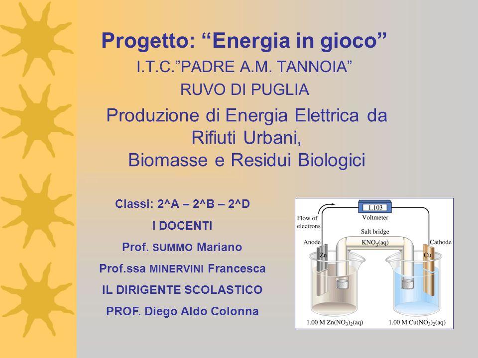 Produzione di Energia Elettrica da Rifiuti Urbani, Biomasse e Residui Biologici Progetto: Energia in gioco I.T.C.PADRE A.M. TANNOIA RUVO DI PUGLIA Cla