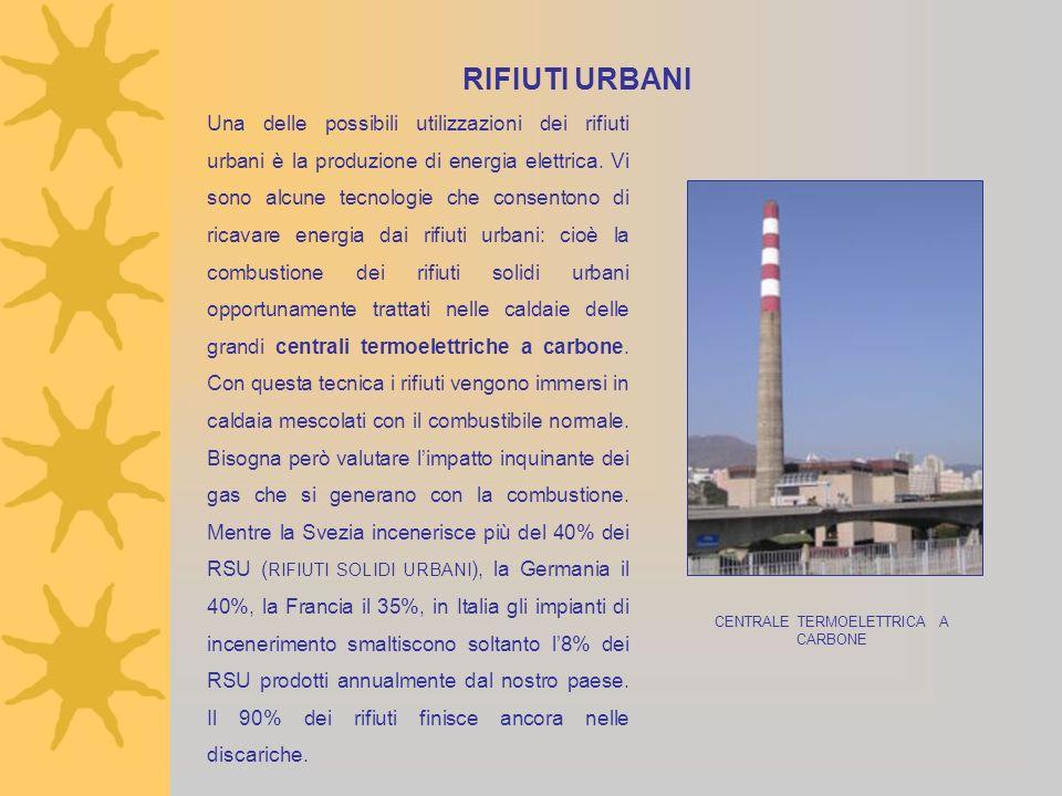 RIFIUTI URBANI Una delle possibili utilizzazioni dei rifiuti urbani è la produzione di energia elettrica. Vi sono alcune tecnologie che consentono di