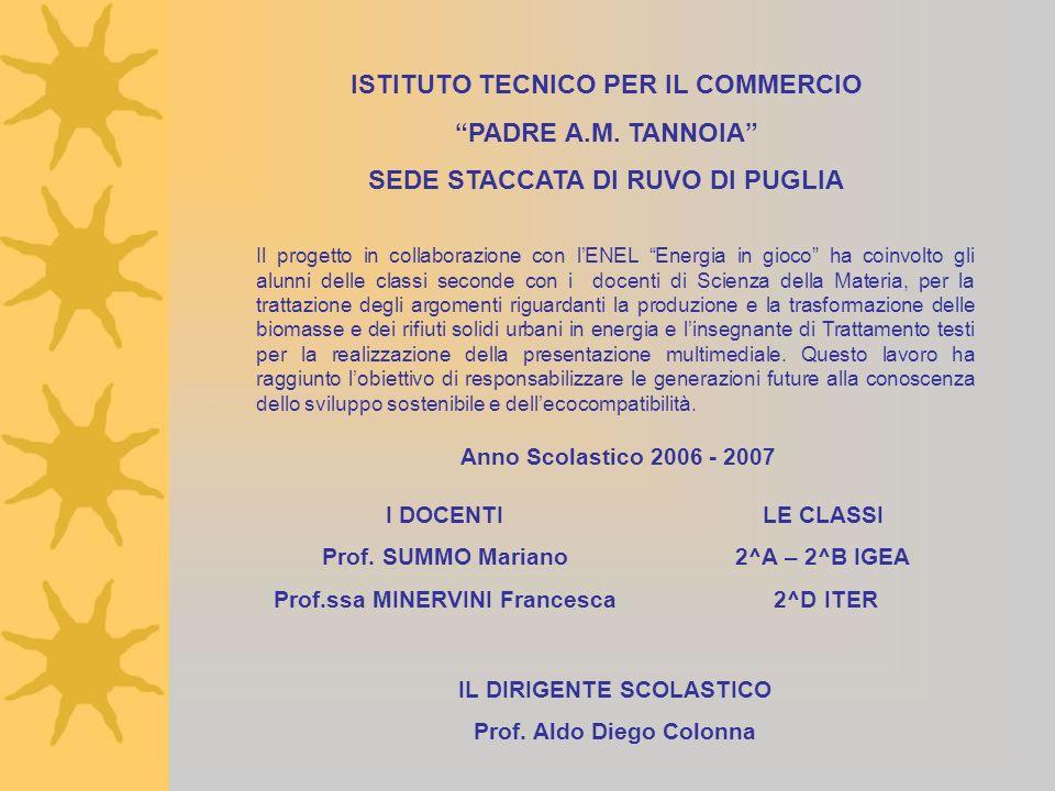 Anno Scolastico 2006 - 2007 I DOCENTI Prof. SUMMO Mariano Prof.ssa MINERVINI Francesca LE CLASSI 2^A – 2^B IGEA 2^D ITER Il progetto in collaborazione