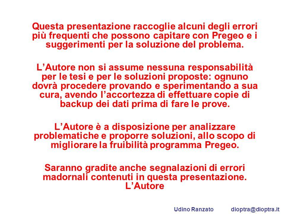 Questa presentazione raccoglie alcuni degli errori più frequenti che possono capitare con Pregeo e i suggerimenti per la soluzione del problema. LAuto