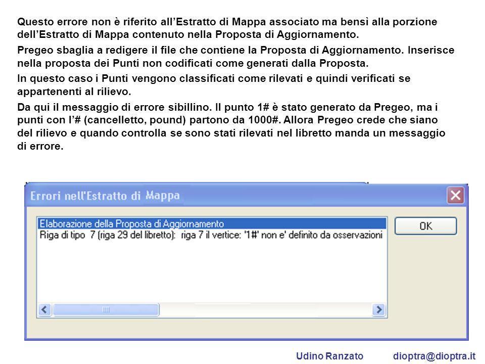 Questo errore non è riferito allEstratto di Mappa associato ma bensì alla porzione dellEstratto di Mappa contenuto nella Proposta di Aggiornamento. Pr