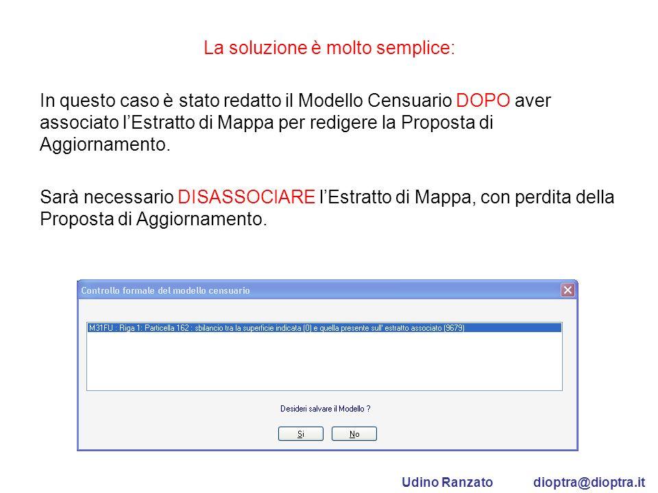 La soluzione è molto semplice: In questo caso è stato redatto il Modello Censuario DOPO aver associato lEstratto di Mappa per redigere la Proposta di
