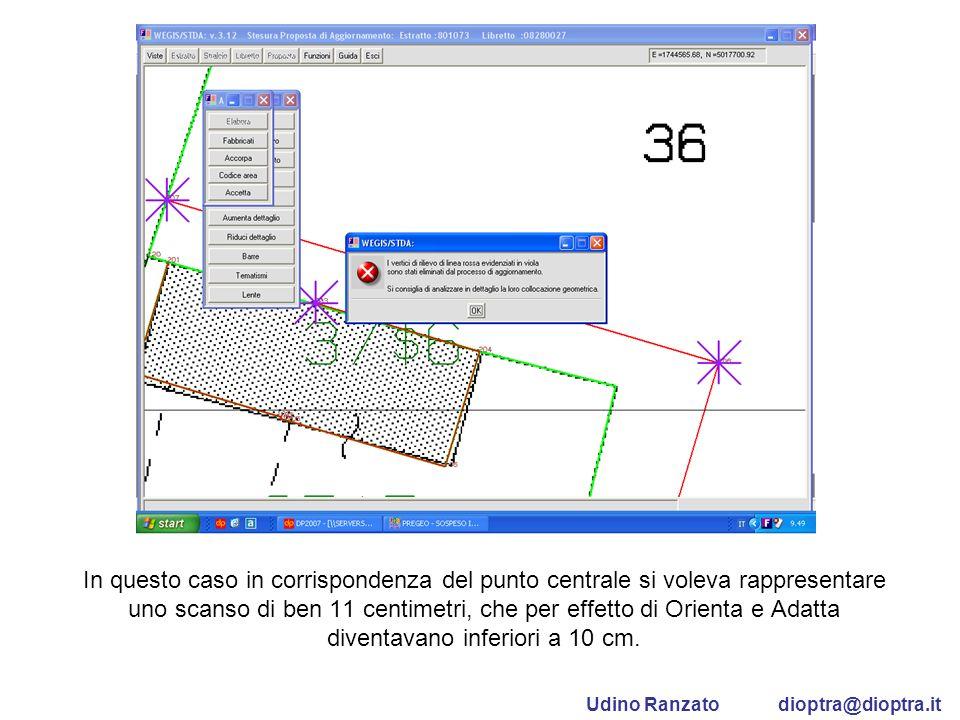 In questo caso in corrispondenza del punto centrale si voleva rappresentare uno scanso di ben 11 centimetri, che per effetto di Orienta e Adatta diven