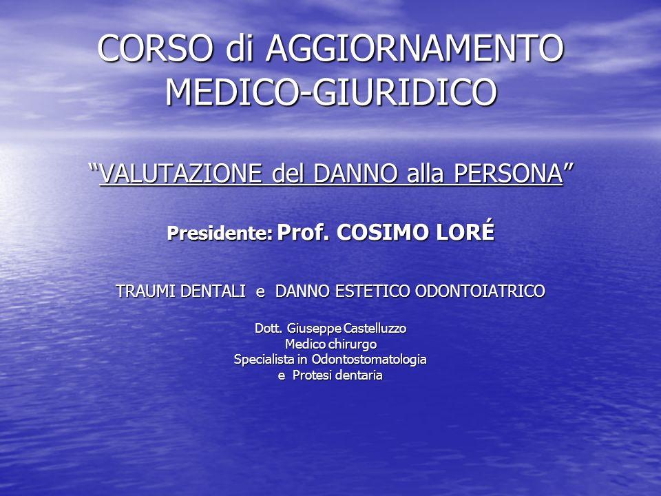 CORSO di AGGIORNAMENTO MEDICO-GIURIDICOVALUTAZIONE del DANNO alla PERSONA Presidente: Prof.