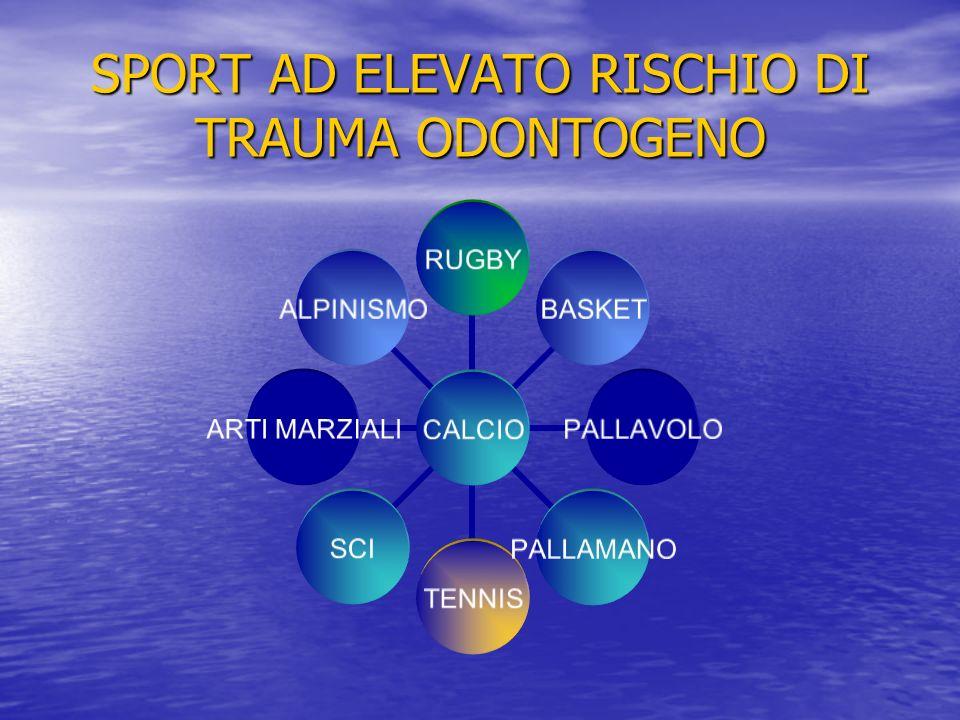 SPORT AD ELEVATO RISCHIO DI TRAUMA ODONTOGENO CALCIO RUGBYBASKETPALLAVOLOPALLAMANOTENNISSCI ARTI MARZIALI ALPINISMO