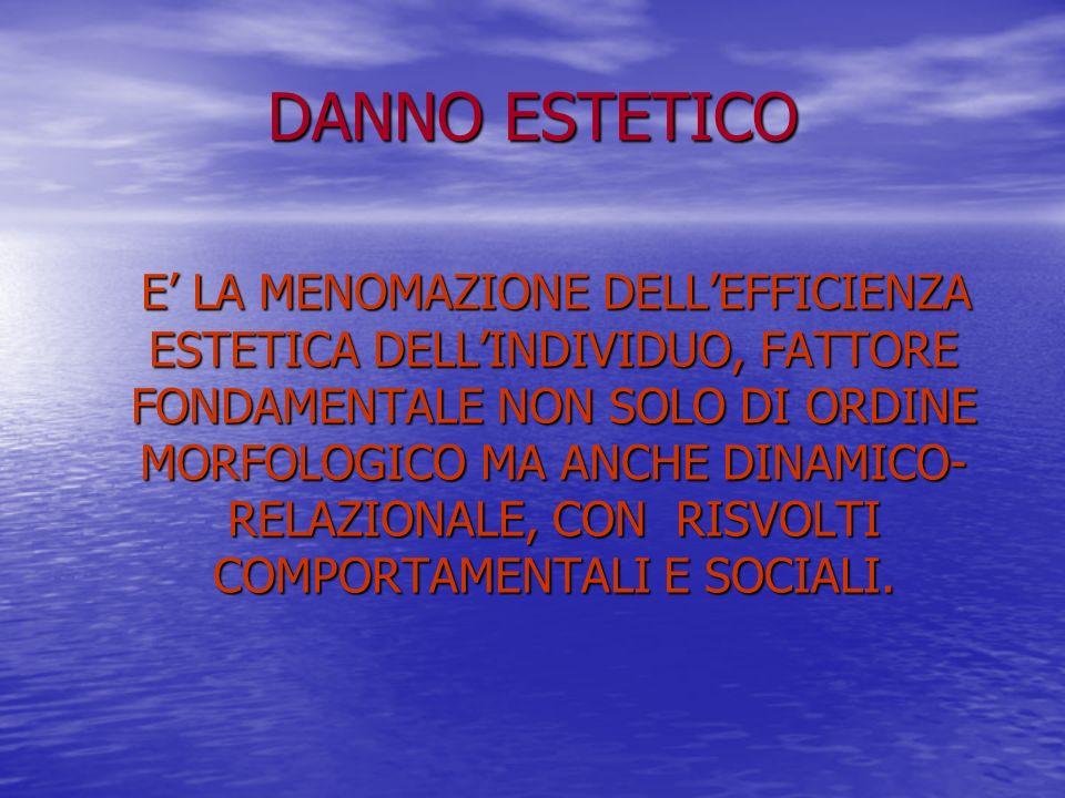 DANNO ESTETICO E LA MENOMAZIONE DELLEFFICIENZA ESTETICA DELLINDIVIDUO, FATTORE FONDAMENTALE NON SOLO DI ORDINE MORFOLOGICO MA ANCHE DINAMICO- RELAZIONALE, CON RISVOLTI COMPORTAMENTALI E SOCIALI.