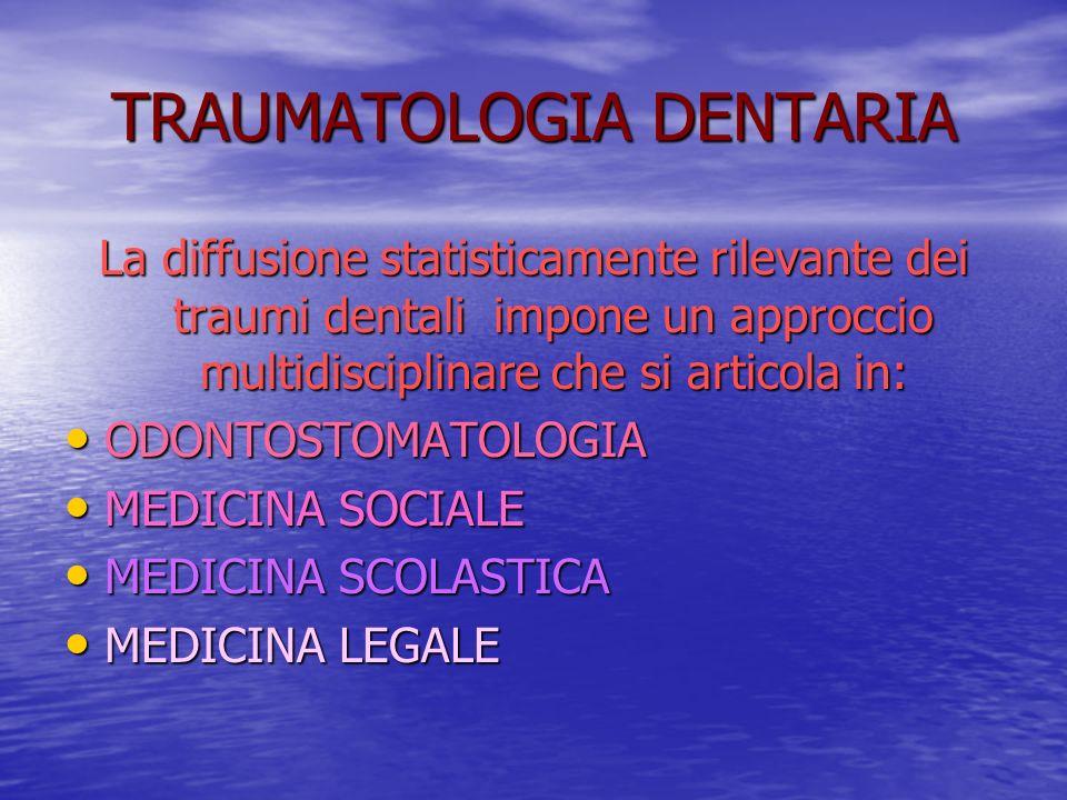 TRAUMATOLOGIA DENTARIA La diffusione statisticamente rilevante dei traumi dentali impone un approccio multidisciplinare che si articola in: ODONTOSTOMATOLOGIA ODONTOSTOMATOLOGIA MEDICINA SOCIALE MEDICINA SOCIALE MEDICINA SCOLASTICA MEDICINA SCOLASTICA MEDICINA LEGALE MEDICINA LEGALE