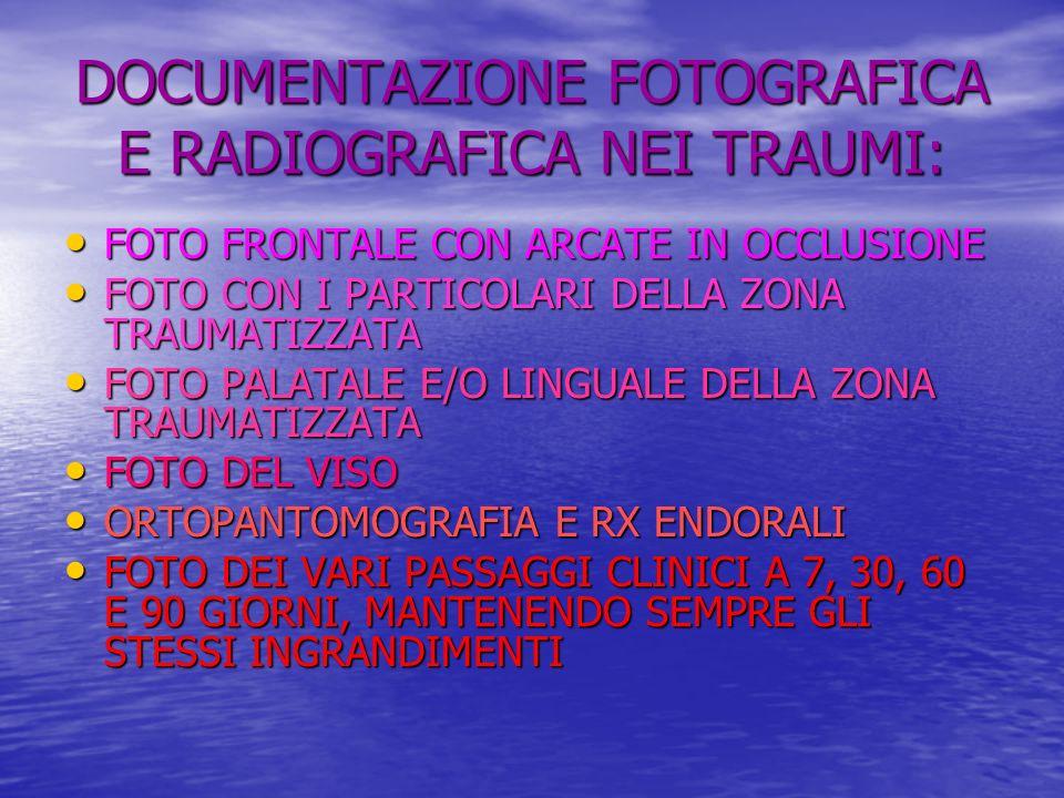 DOCUMENTAZIONE FOTOGRAFICA E RADIOGRAFICA NEI TRAUMI: FOTO FRONTALE CON ARCATE IN OCCLUSIONE FOTO FRONTALE CON ARCATE IN OCCLUSIONE FOTO CON I PARTICOLARI DELLA ZONA TRAUMATIZZATA FOTO CON I PARTICOLARI DELLA ZONA TRAUMATIZZATA FOTO PALATALE E/O LINGUALE DELLA ZONA TRAUMATIZZATA FOTO PALATALE E/O LINGUALE DELLA ZONA TRAUMATIZZATA FOTO DEL VISO FOTO DEL VISO ORTOPANTOMOGRAFIA E RX ENDORALI ORTOPANTOMOGRAFIA E RX ENDORALI FOTO DEI VARI PASSAGGI CLINICI A 7, 30, 60 E 90 GIORNI, MANTENENDO SEMPRE GLI STESSI INGRANDIMENTI FOTO DEI VARI PASSAGGI CLINICI A 7, 30, 60 E 90 GIORNI, MANTENENDO SEMPRE GLI STESSI INGRANDIMENTI