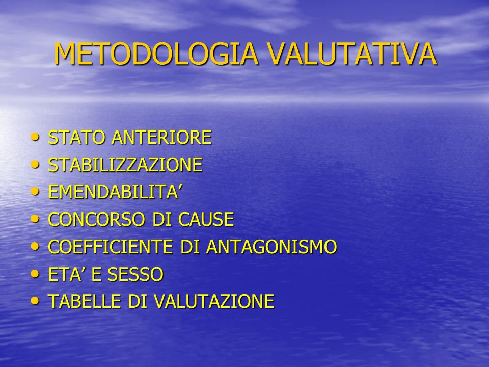 METODOLOGIA VALUTATIVA STATO ANTERIORE STATO ANTERIORE STABILIZZAZIONE STABILIZZAZIONE EMENDABILITA EMENDABILITA CONCORSO DI CAUSE CONCORSO DI CAUSE COEFFICIENTE DI ANTAGONISMO COEFFICIENTE DI ANTAGONISMO ETA E SESSO ETA E SESSO TABELLE DI VALUTAZIONE TABELLE DI VALUTAZIONE