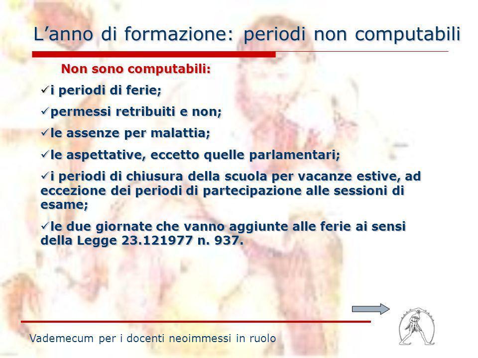 Lanno di formazione: periodi non computabili Vademecum per i docenti neoimmessi in ruolo Non sono computabili: Non sono computabili: i periodi di feri