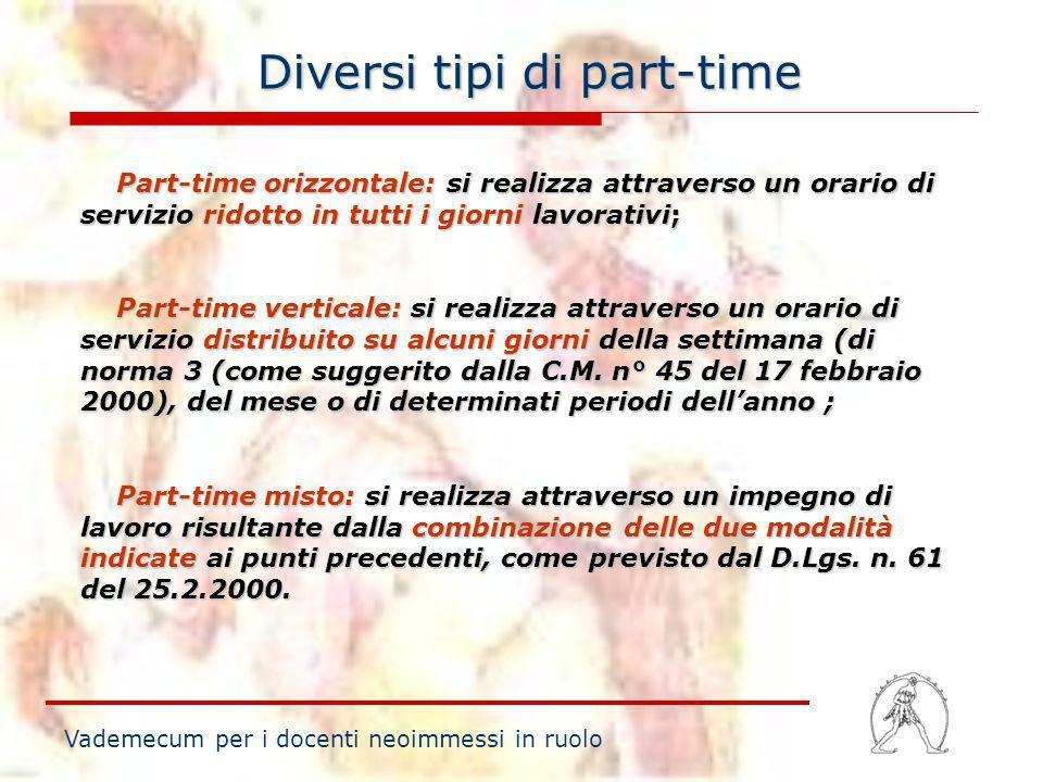 Diversi tipi di part-time Vademecum per i docenti neoimmessi in ruolo Part-time orizzontale: si realizza attraverso un orario di servizio ridotto in t