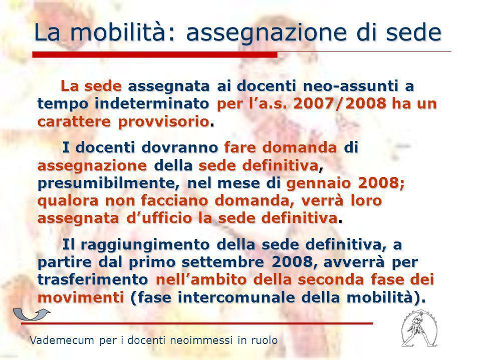 La mobilità: assegnazione di sede Vademecum per i docenti neoimmessi in ruolo La sede assegnata ai docenti neo-assunti a tempo indeterminato per la.s.