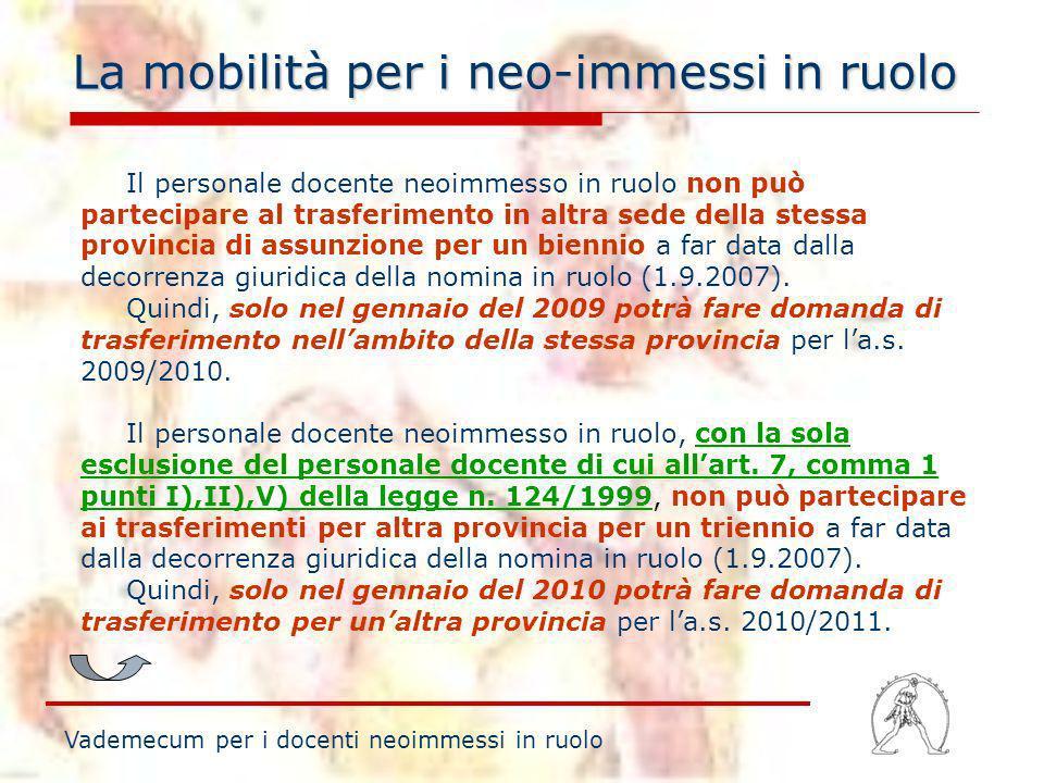 La mobilità per i neo-immessi in ruolo Vademecum per i docenti neoimmessi in ruolo Il personale docente neoimmesso in ruolo non può partecipare al tra