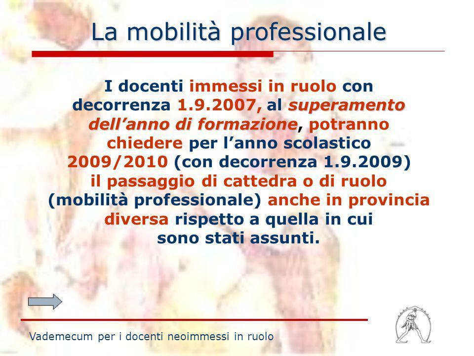 La mobilità professionale superamento dellanno di formazione I docenti immessi in ruolo con decorrenza 1.9.2007, al superamento dellanno di formazione