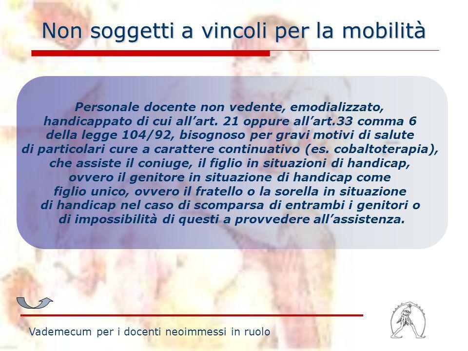 Non soggetti a vincoli per la mobilità Personale docente non vedente, emodializzato, handicappato di cui allart. 21 oppure allart.33 comma 6 della leg