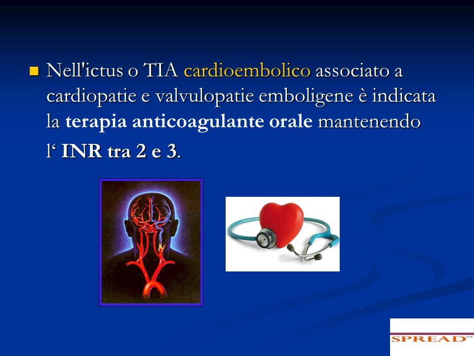 Nell'ictus o TIA cardioembolico associato a cardiopatie e valvulopatie emboligene è indicata la mantenendo Nell'ictus o TIA cardioembolico associato a
