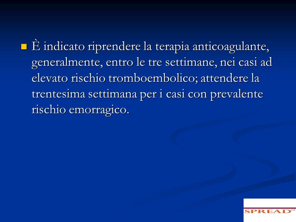 È indicato riprendere la terapia anticoagulante, generalmente, entro le tre settimane, nei casi ad elevato rischio tromboembolico; attendere la trente